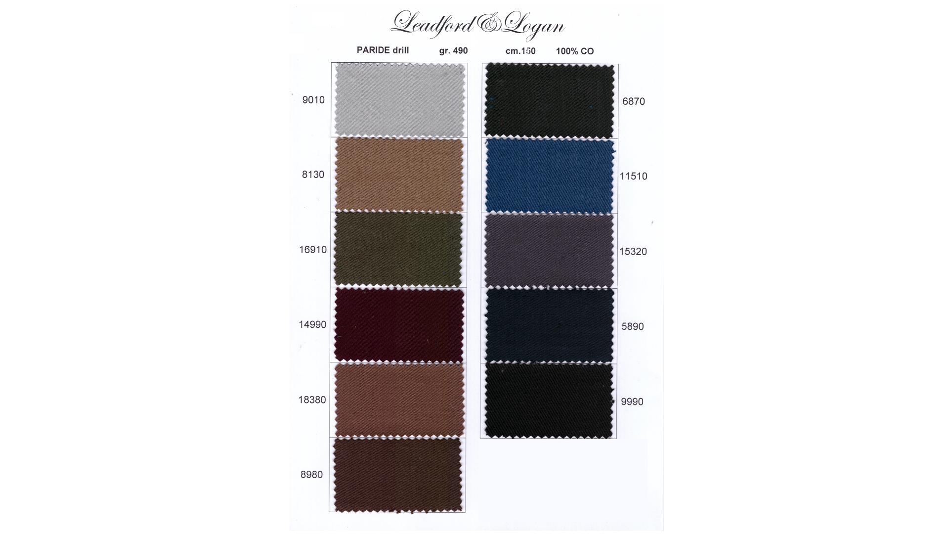 la cartella colore del tessuto paride drill di Leadford & Logan