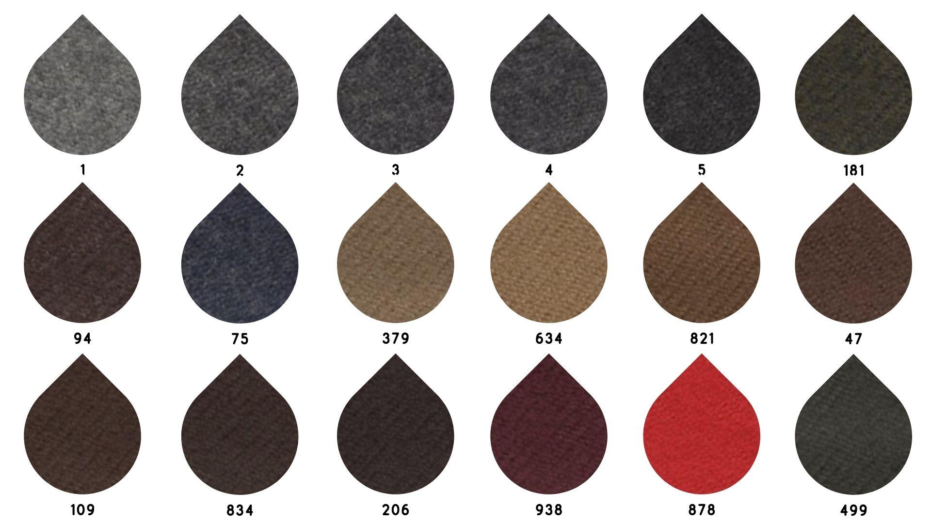 la cartella colore del tessuto flanella zignone di Leadford & Logan