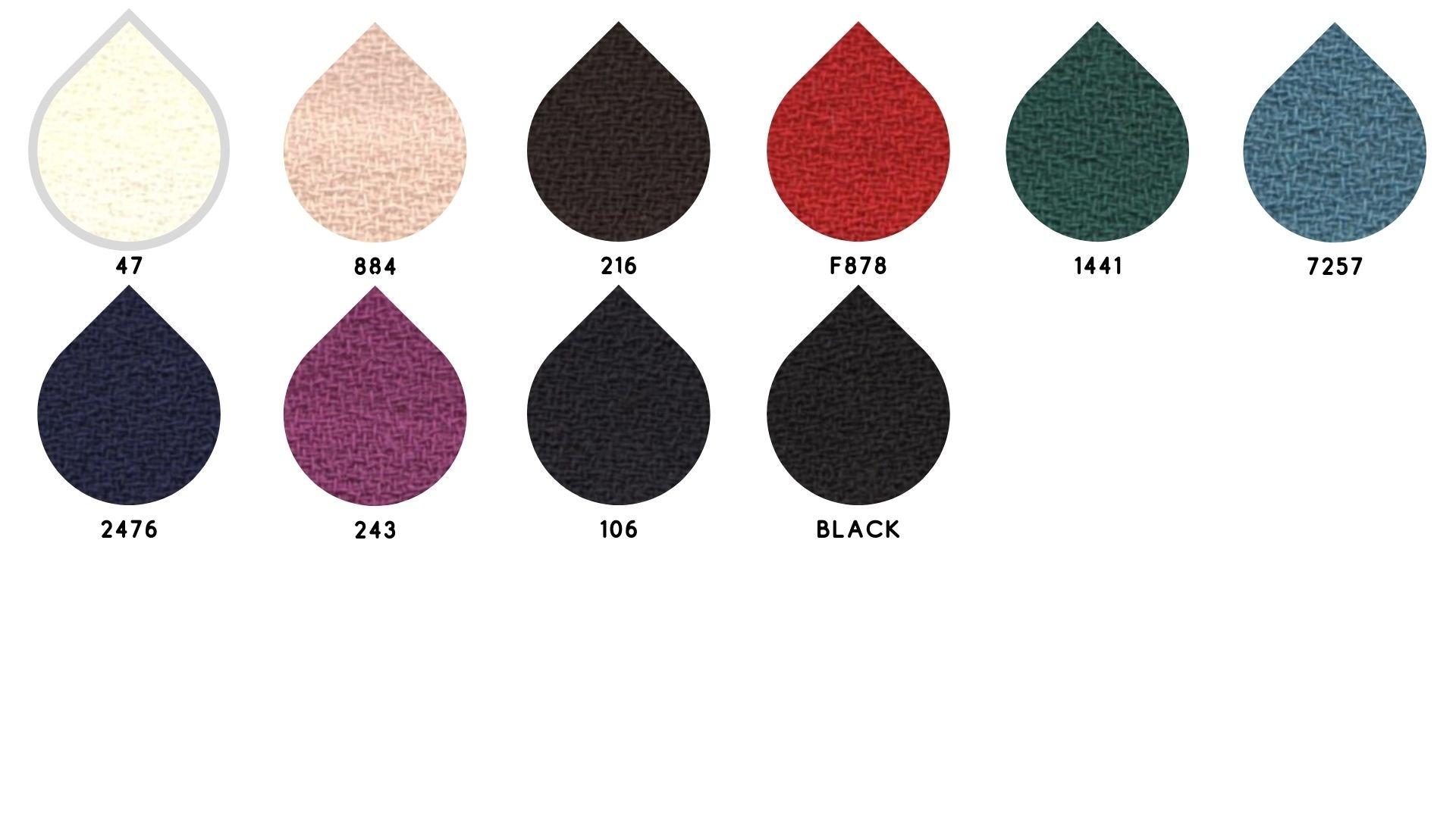 la cartella colore del tessuto doppio crepe di Leadford & Logan
