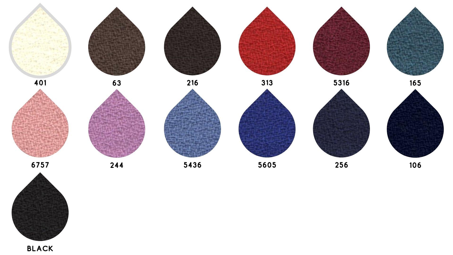 la cartella colore del tessuto 2824 crepe di Leadford & Logan