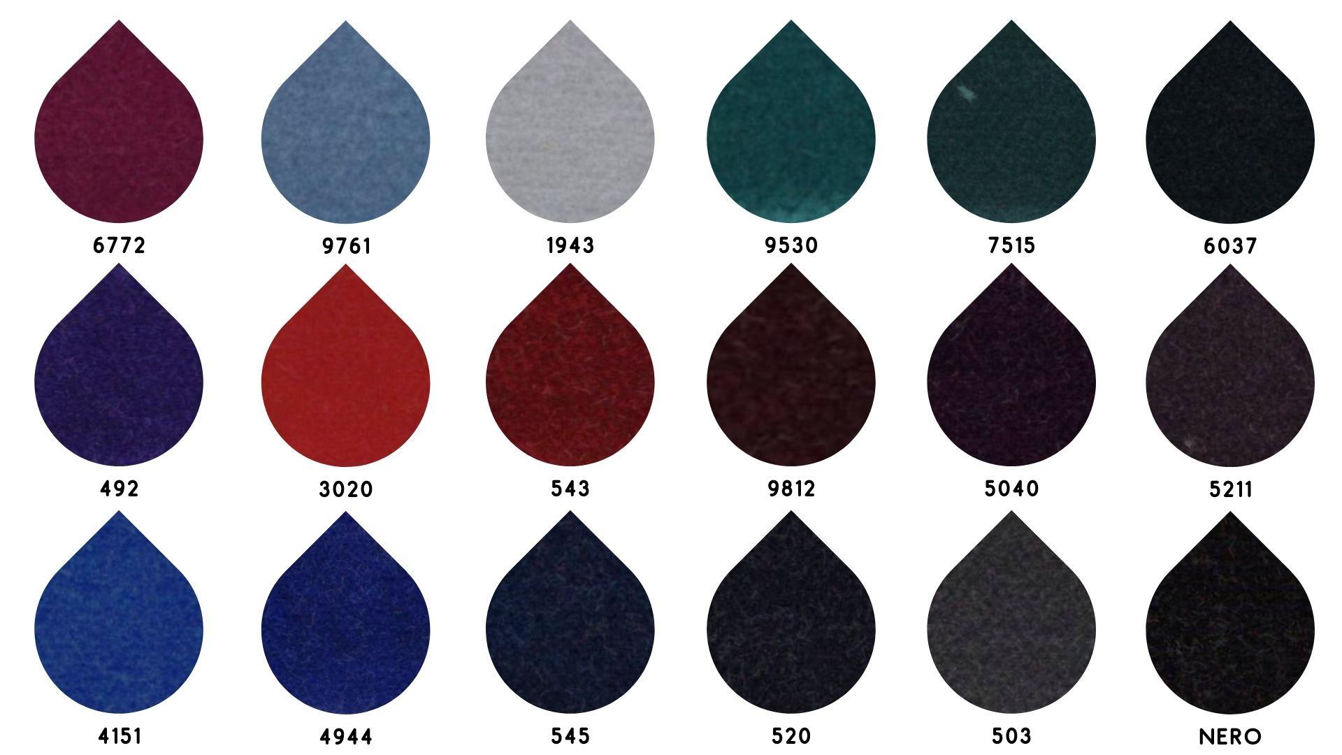 la cartella colore del tessuto diana velluto di Leadford & Logan