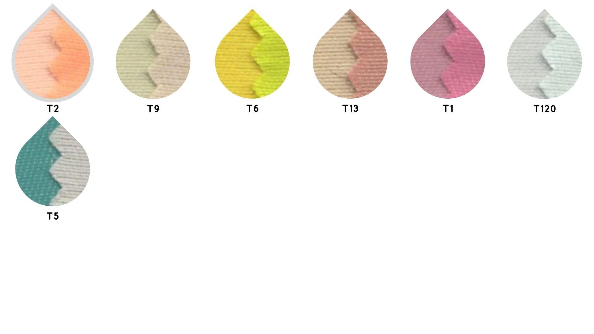 la cartella colore del tessuto mikado las palmas di Leadford & Logan
