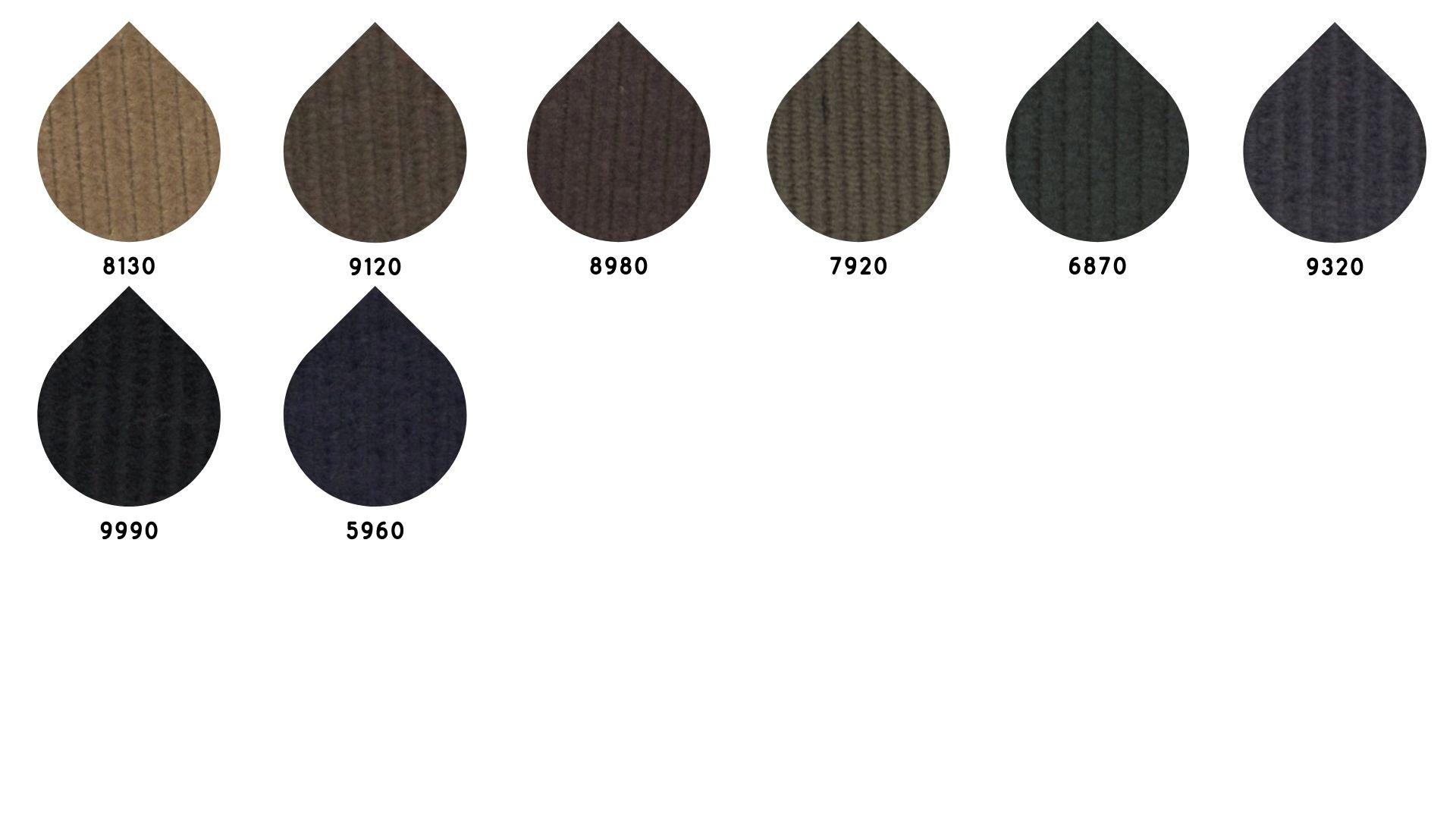 la cartella colore del tessuto old500 velluto di Leadford & Logan