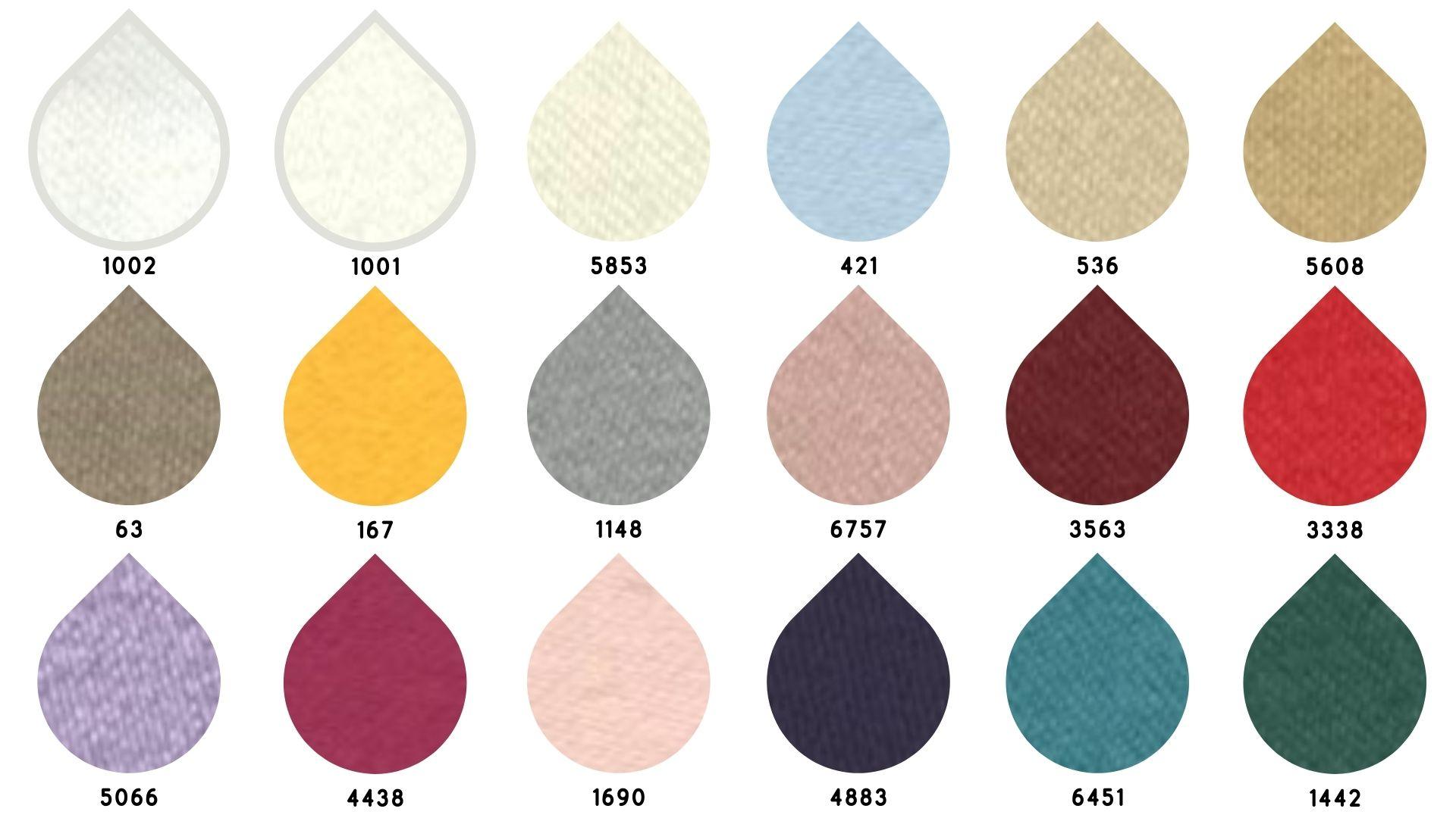 la cartella colore del tessuto satin follia di Leadford & Logan
