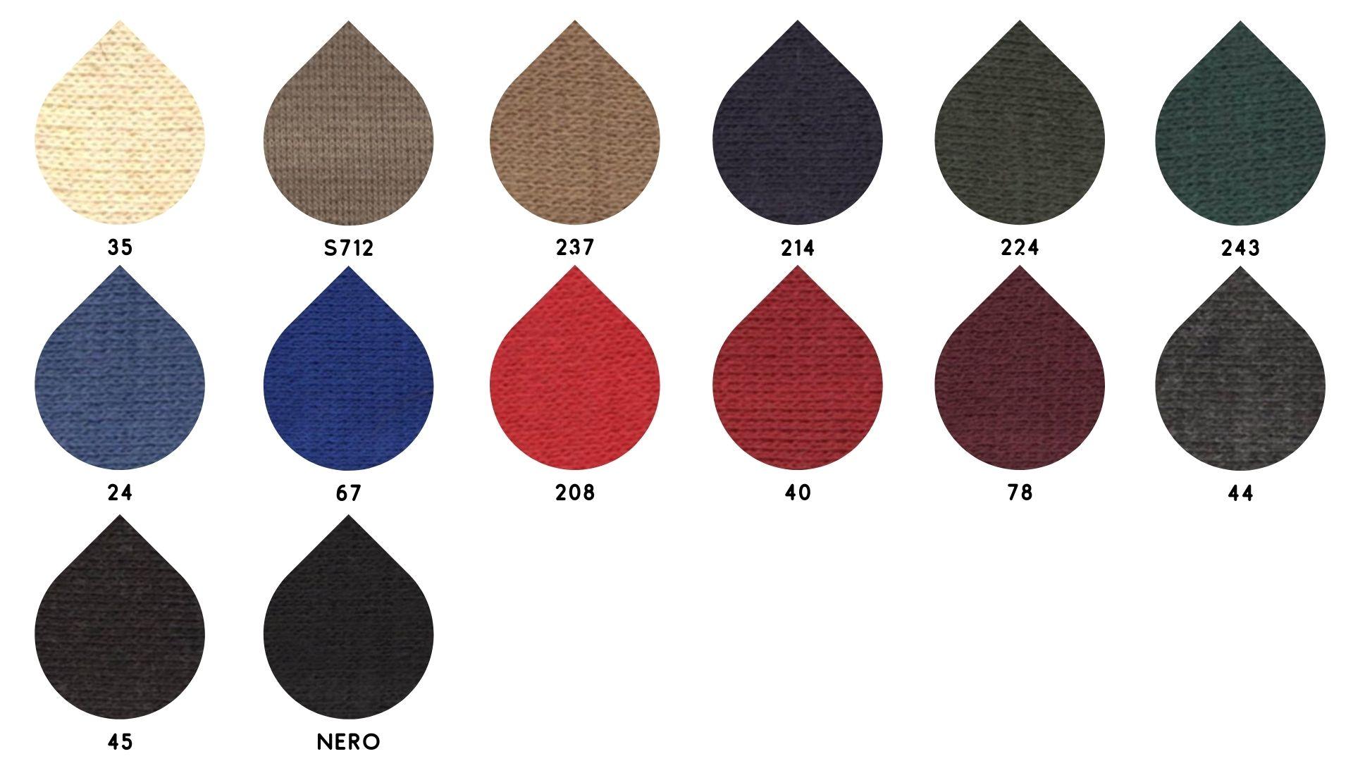 la cartella colore del tessuto tody jersey di Leadford & Logan