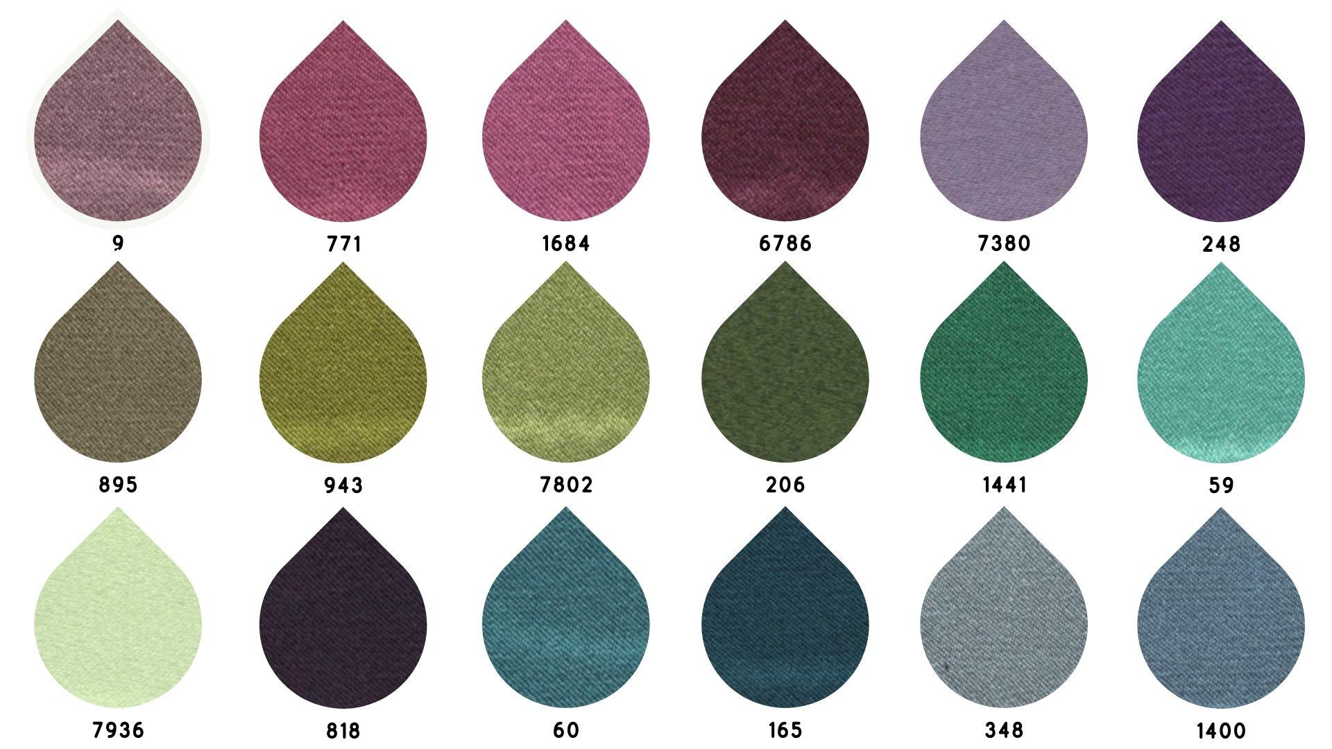 la cartella colore del tessuto satin perlato di Leadford & Logan