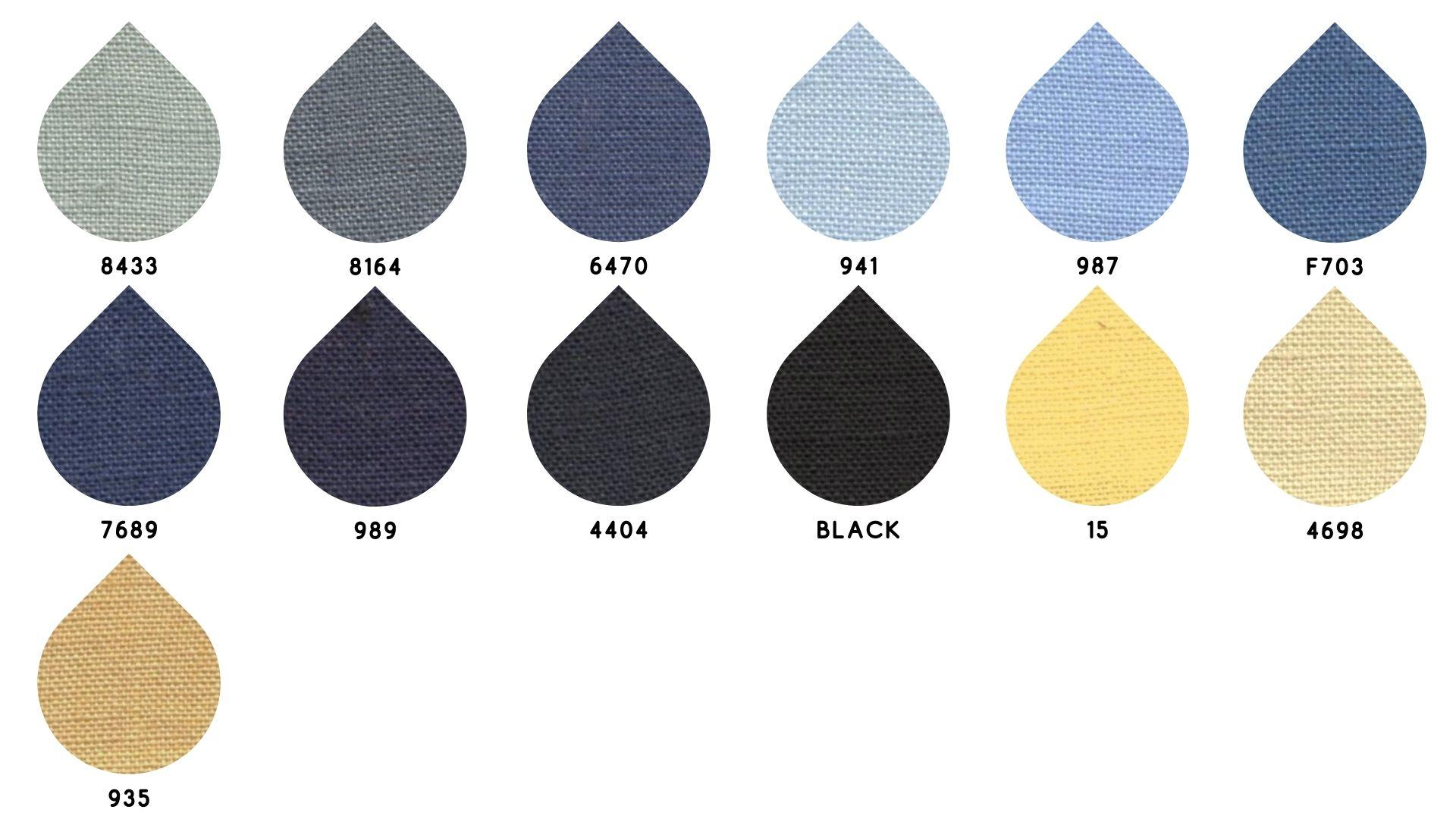 la cartella colore del tessuto quarantalino di Leadford & Logan