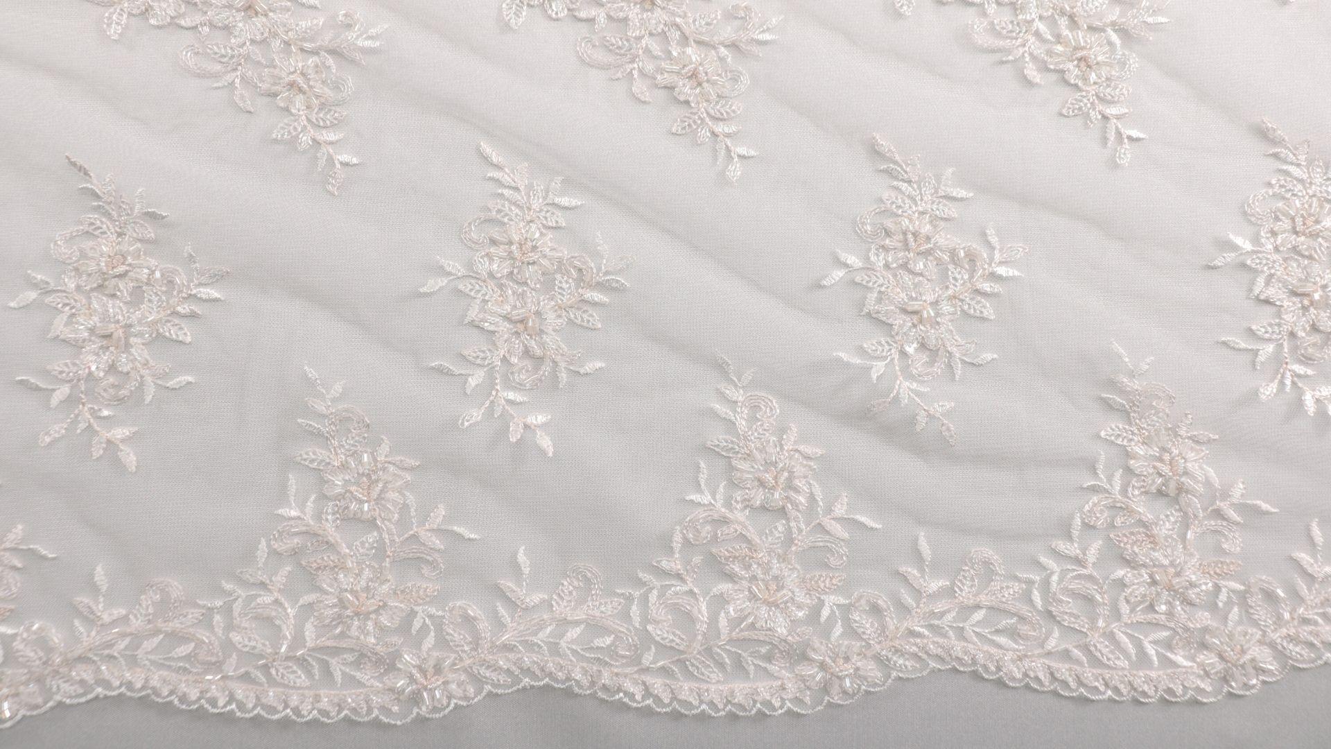 il particolare del tessuto lv7077, appartenente alla categoria ricami da sposa, di Leadford & Logan